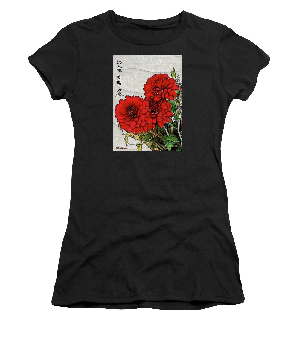 Chrysanthemums Women's T-Shirt (Athletic Fit) featuring the painting Motif Japonica No. 7 by RC DeWinter