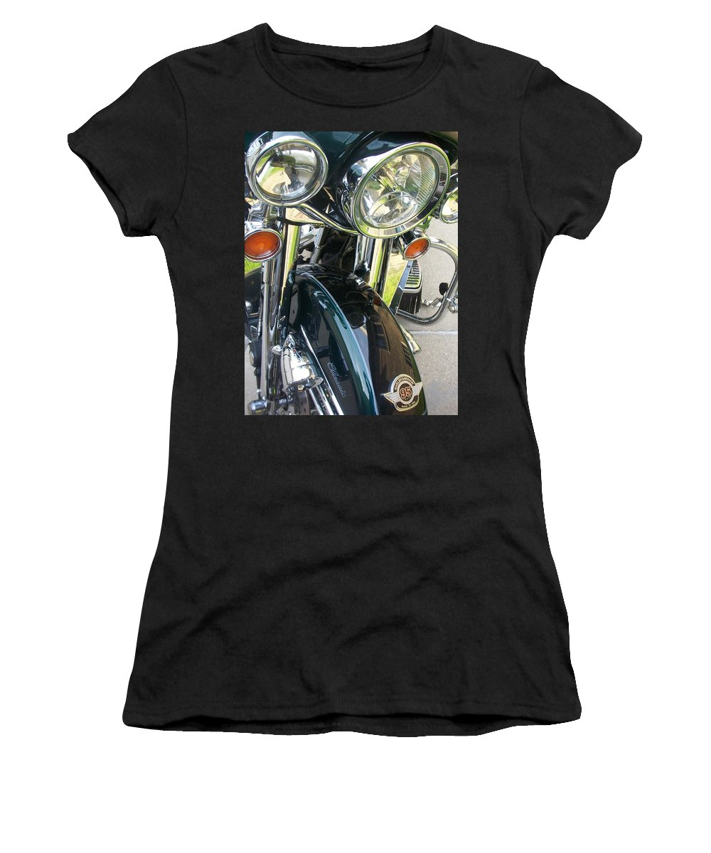 Motorcycles Women's T-Shirt (Athletic Fit) featuring the photograph Motorcyle Classic Headlight by Anita Burgermeister