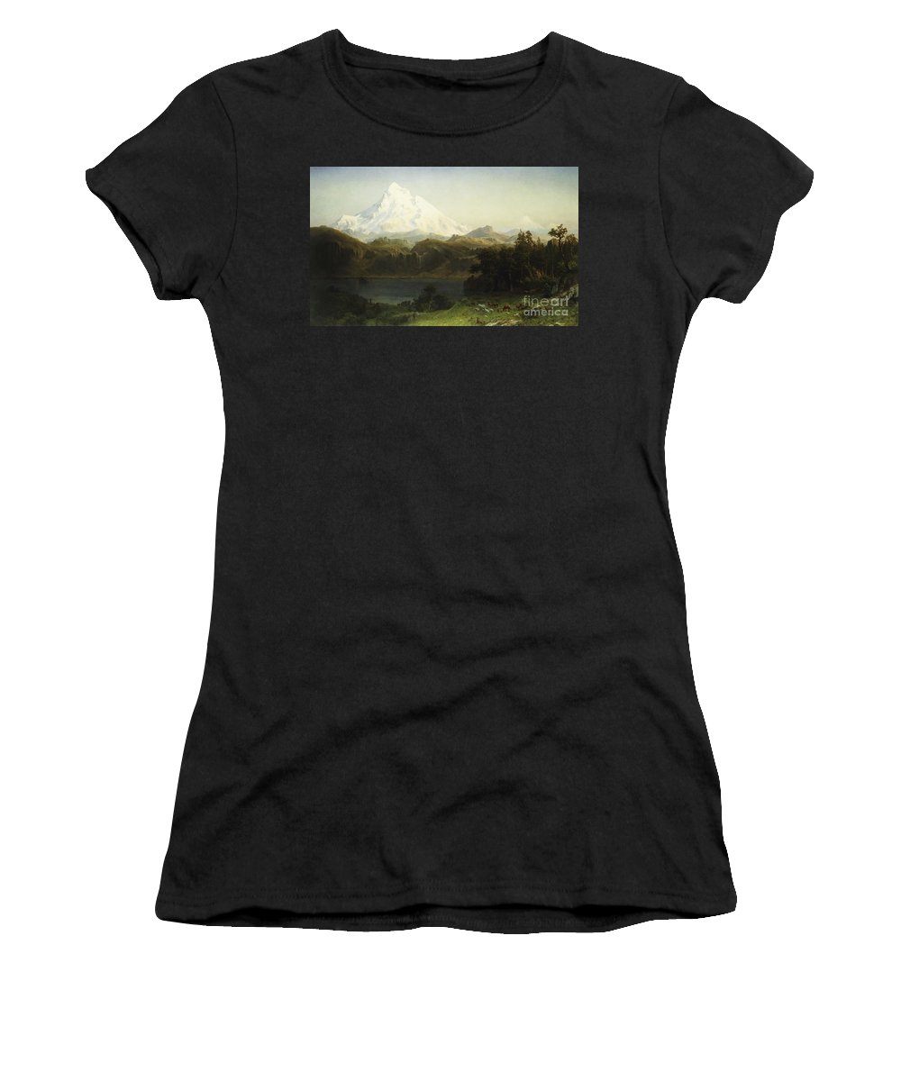 Mountain Women's T-Shirt (Athletic Fit) featuring the painting Mount Hood In Oregon by Albert Bierstadt