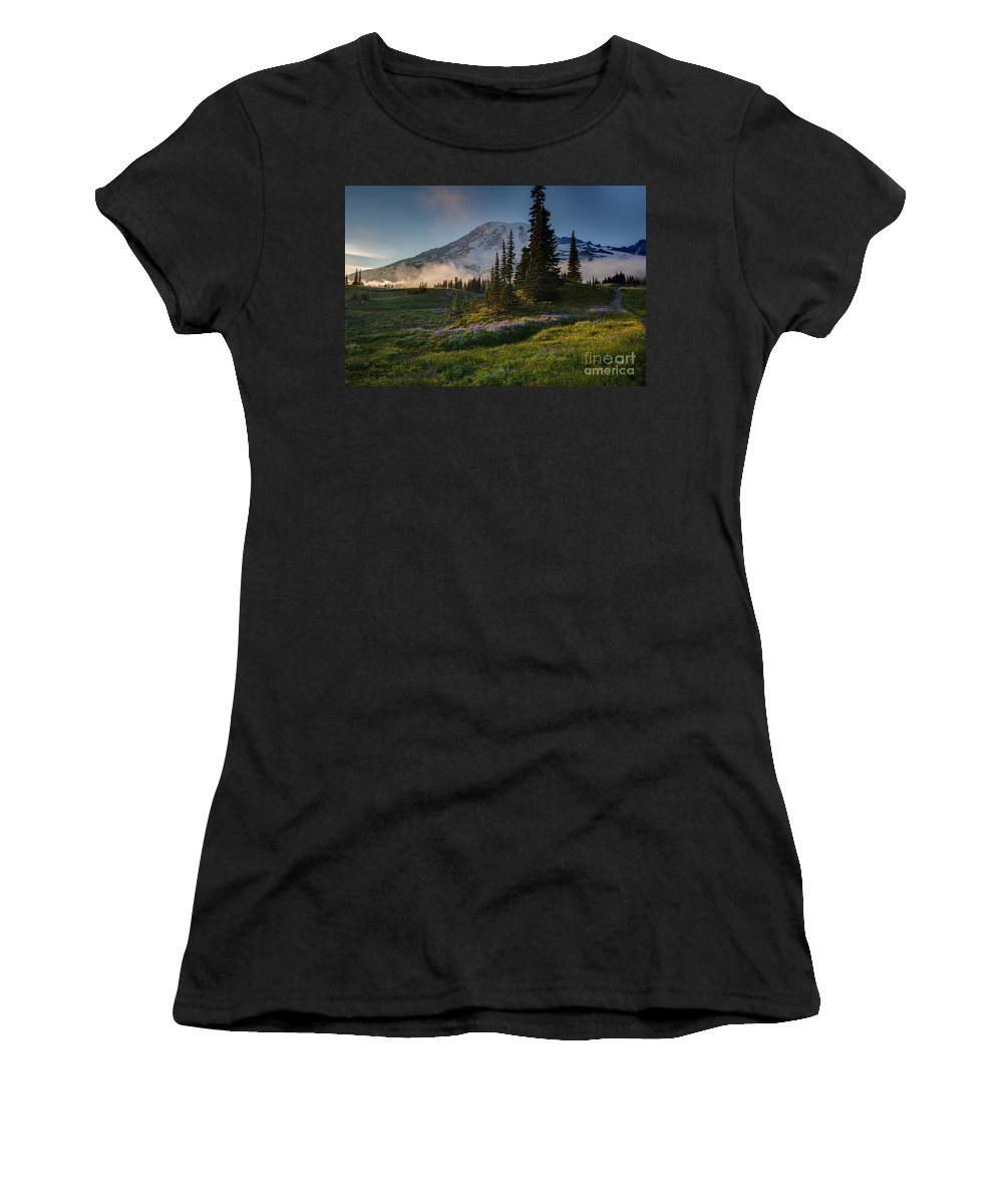 Rainier Women's T-Shirt featuring the photograph Mount Rainier Evening Fog by Mike Reid
