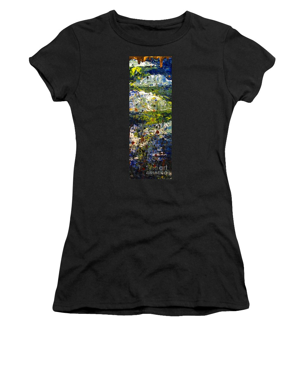 Water Women's T-Shirt (Athletic Fit) featuring the painting Mountain Creek by Jacqueline Athmann