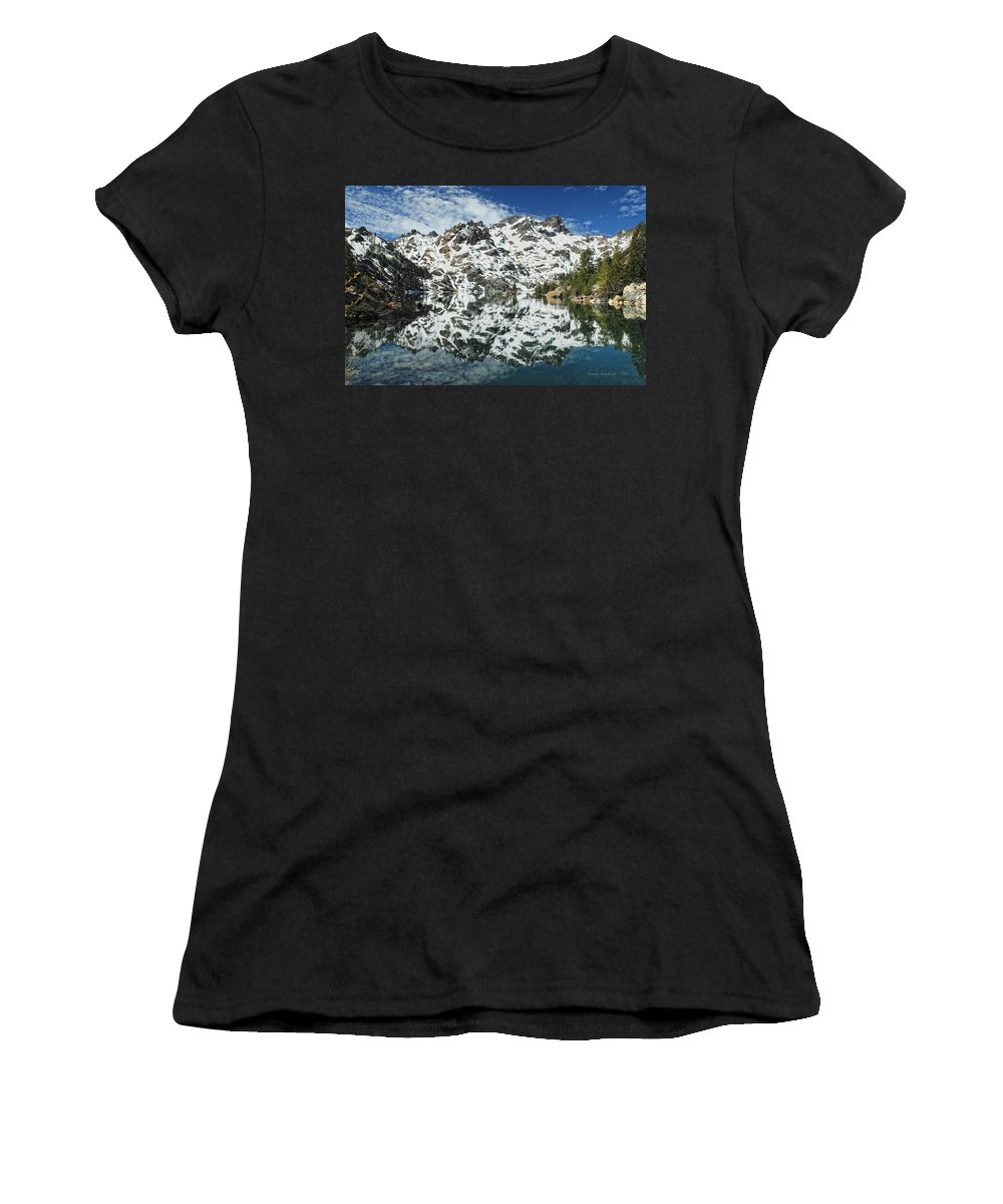 Mountain Women's T-Shirt (Athletic Fit) featuring the photograph Mountain In The Mirror by Donna Blackhall