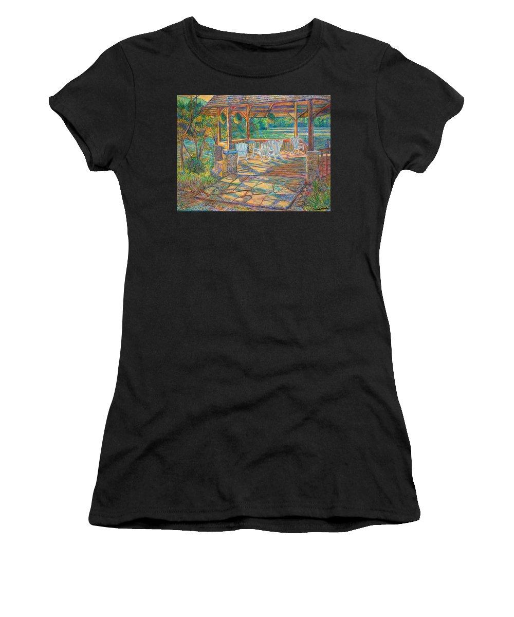 Lake Women's T-Shirt featuring the painting Mountain Lake Shadows by Kendall Kessler