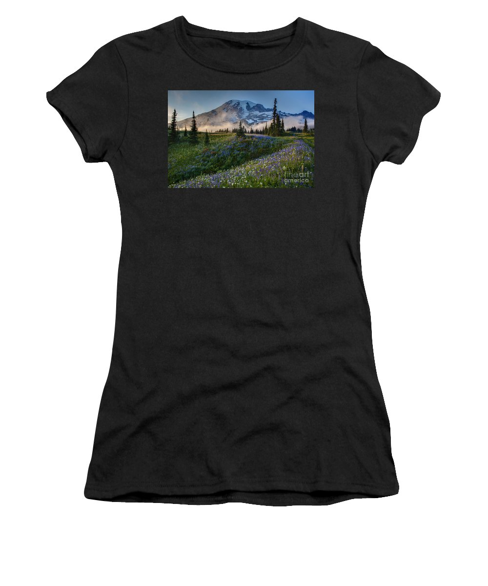 Rainier Women's T-Shirt featuring the photograph Mountain Meadow Serenity by Mike Reid