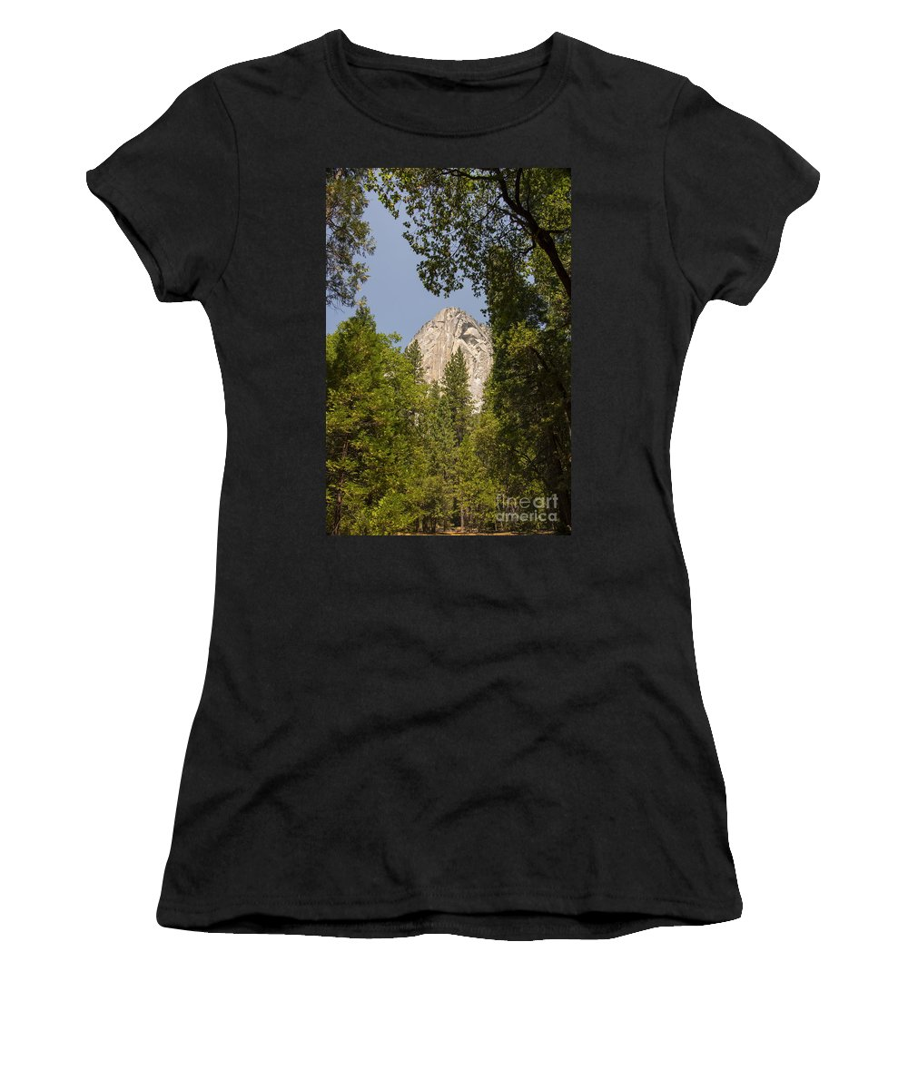 Yosemite National Park California Parks Mountain Peak Peaks Tree Trees Mountains Landscape Landscapes Women's T-Shirt (Athletic Fit) featuring the photograph Mountain Peak In Yosemite National Park by Bob Phillips