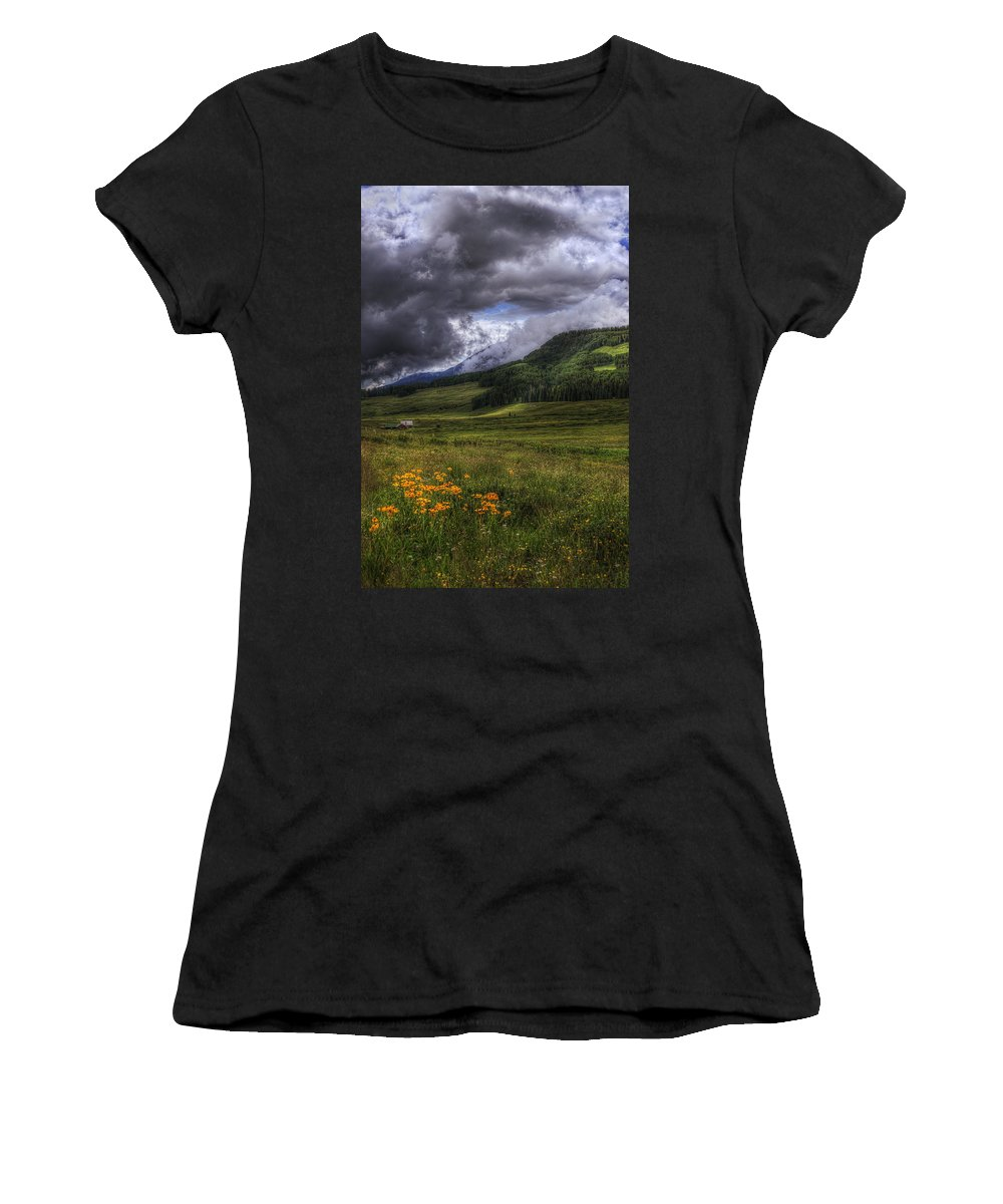 Mountains Women's T-Shirt (Athletic Fit) featuring the photograph Mountain Storm by Priscilla Burgers