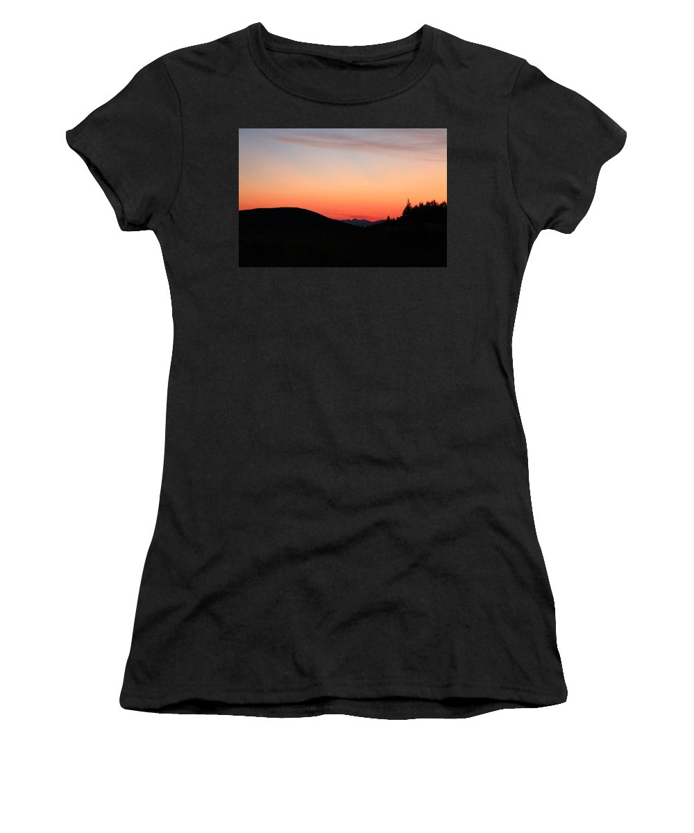 Jackson Hole Women's T-Shirt featuring the photograph Mountain Sunrise by Catie Canetti