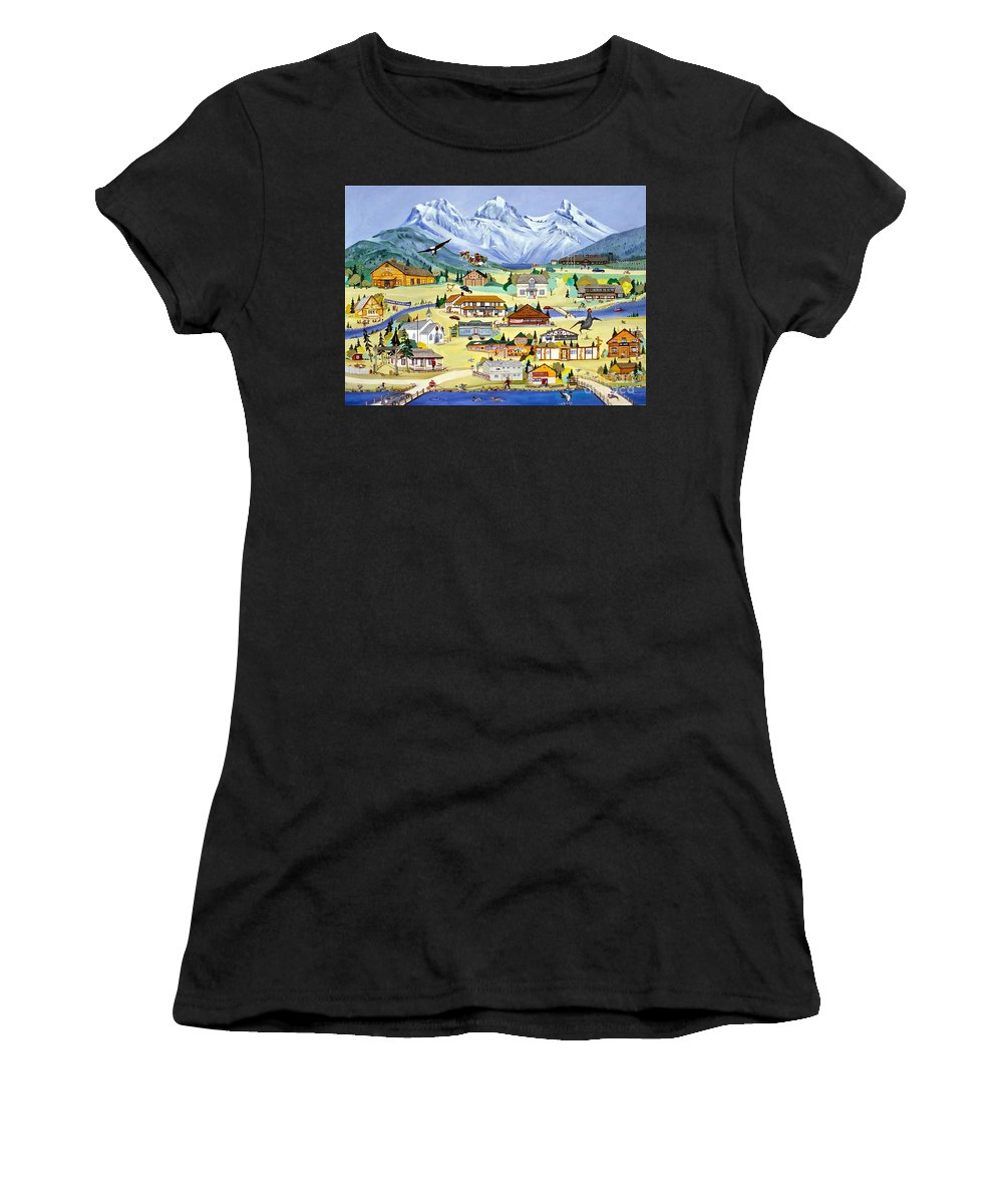 Canmore Women's T-Shirt (Athletic Fit) featuring the painting Mountain Town Of Canmore by Virginia Ann Hemingson