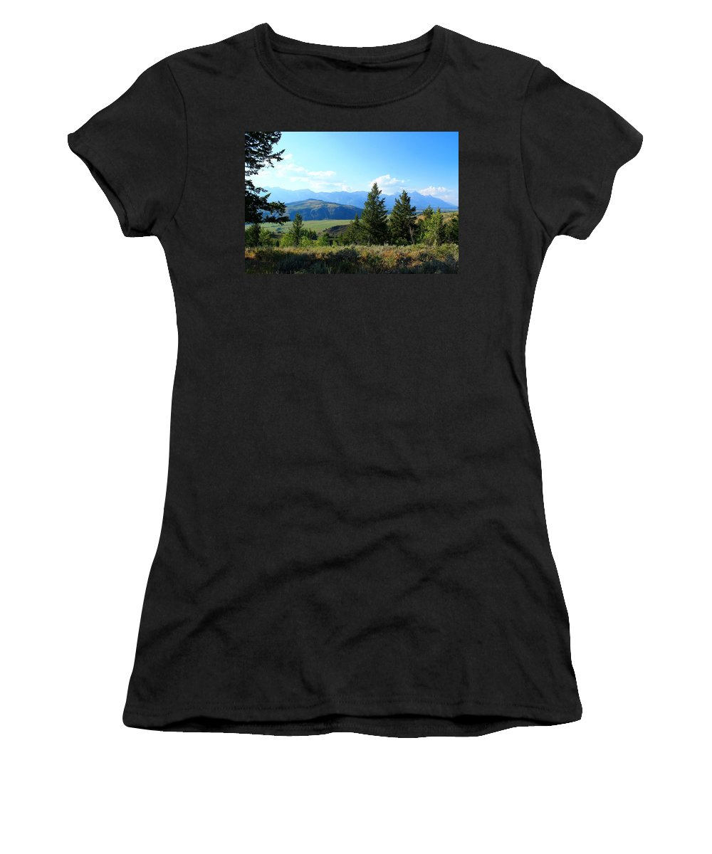 Grand Teton Mountains Women's T-Shirt featuring the photograph Mountain View by Catie Canetti