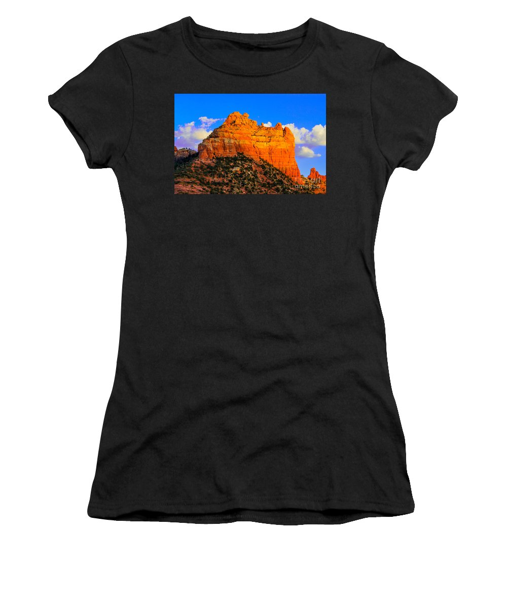 Sedona Women's T-Shirt (Athletic Fit) featuring the photograph Mountain View Sedona Arizona by Michael Moriarty