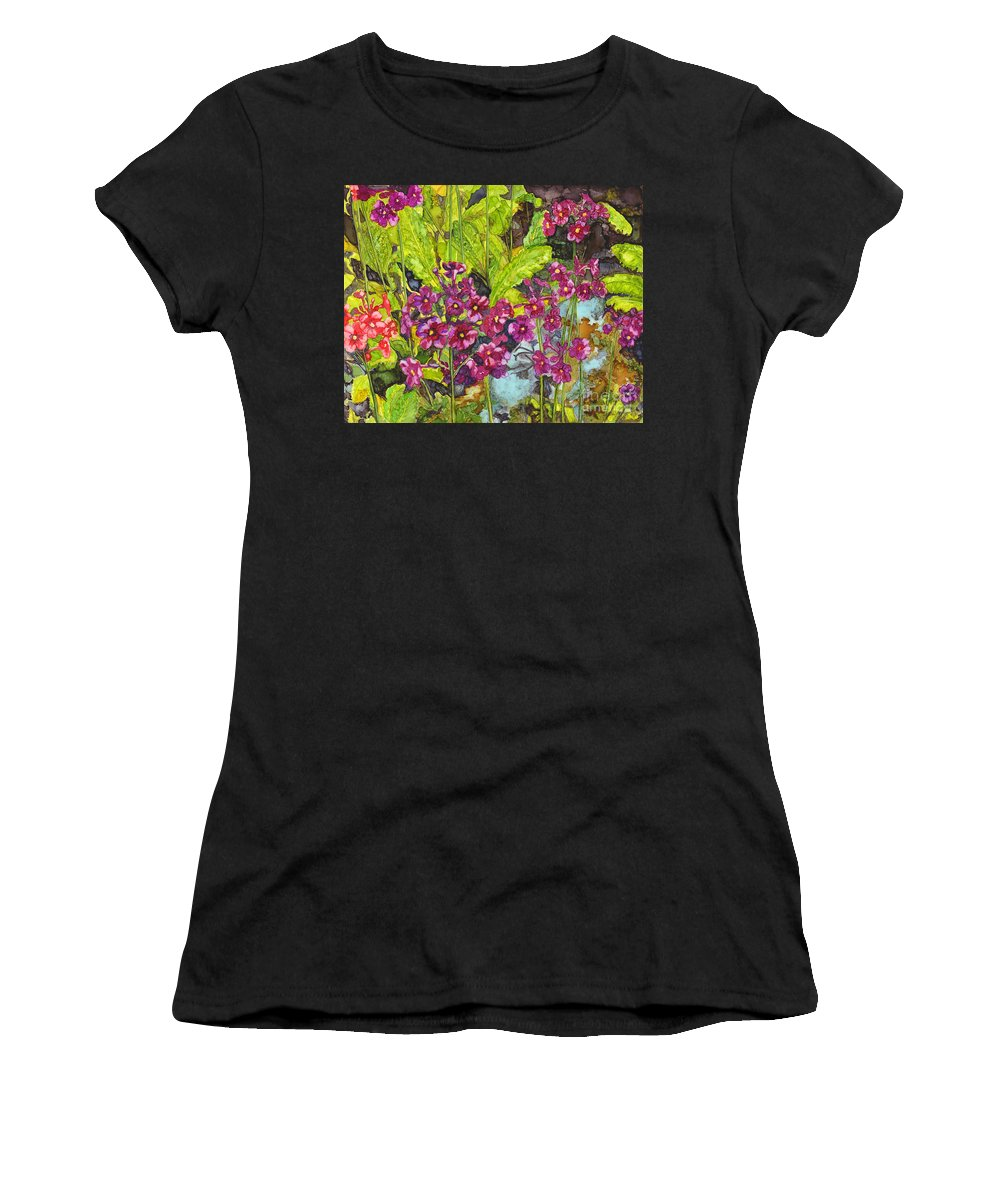 Alcohol Ink Women's T-Shirt (Athletic Fit) featuring the painting Mountain Wild Flowers by Vicki Baun Barry