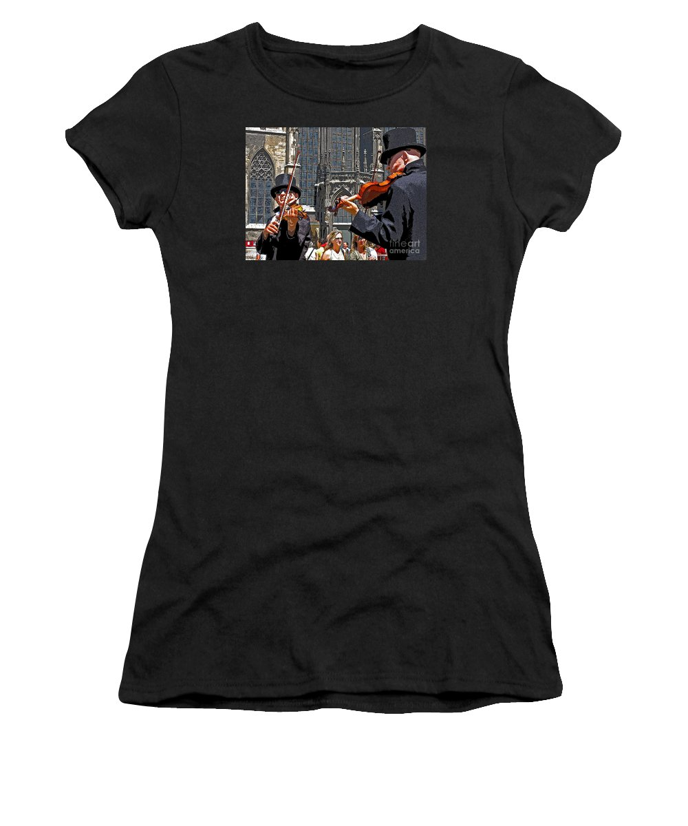 Buskers Women's T-Shirt (Athletic Fit) featuring the photograph Mozart In Masquerade by Ann Horn