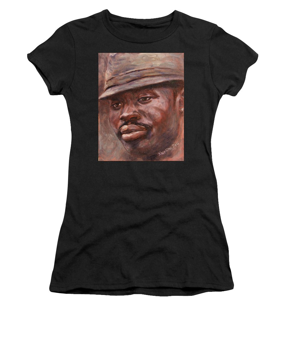 Mr Cool Hat Women's T-Shirt (Athletic Fit) featuring the painting Mr Cool Hat by Xueling Zou