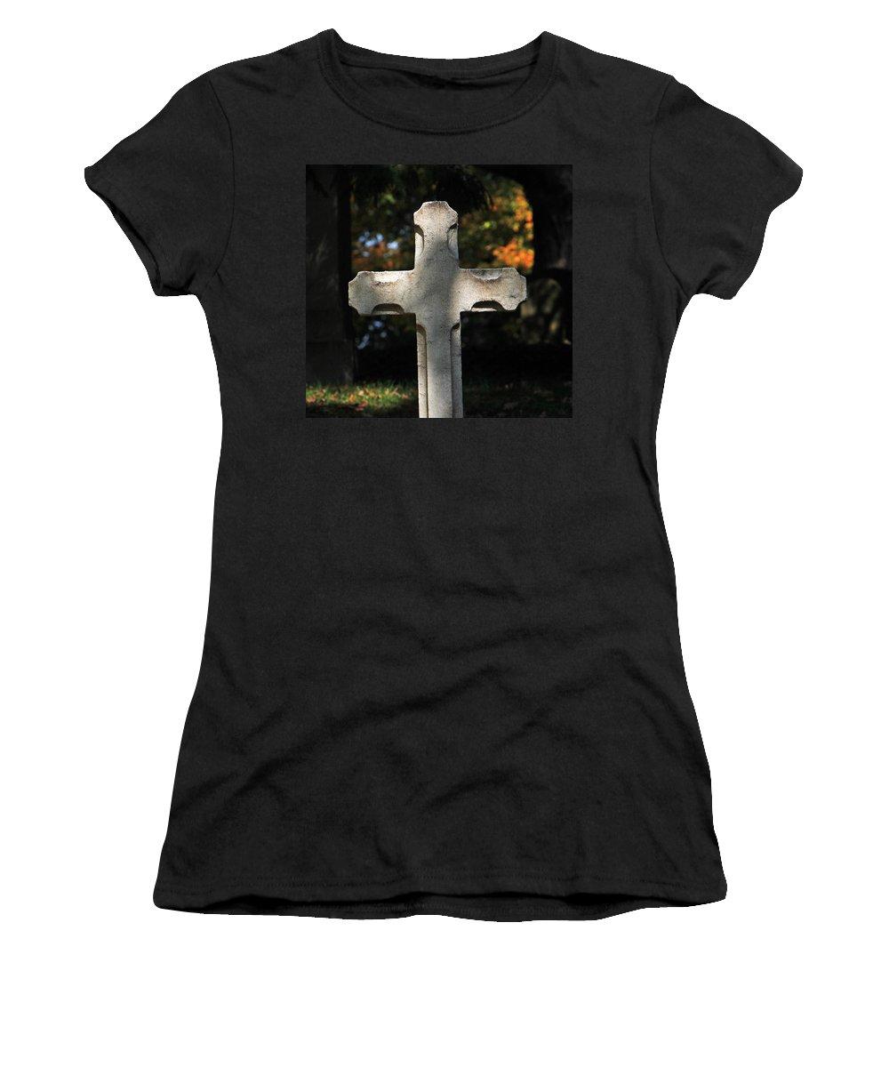 Mt Auburn Cemetery Women's T-Shirt featuring the photograph Mt Auburn Cemetery 9 by Michael Saunders