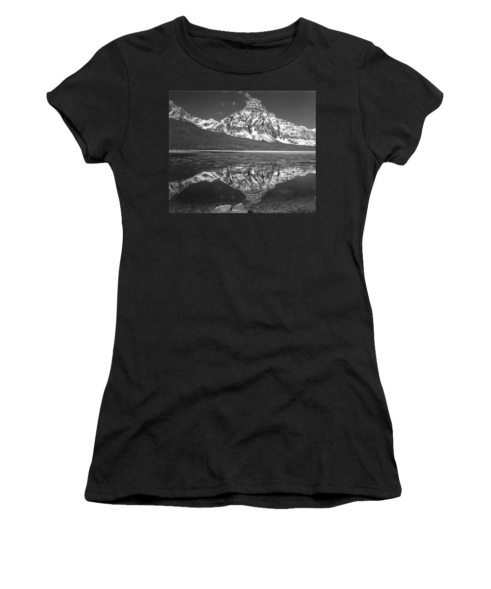 Mt. Chephren Women's T-Shirt (Athletic Fit) featuring the photograph 1m3641-bw-mt. Chephren Reflect by Ed Cooper Photography
