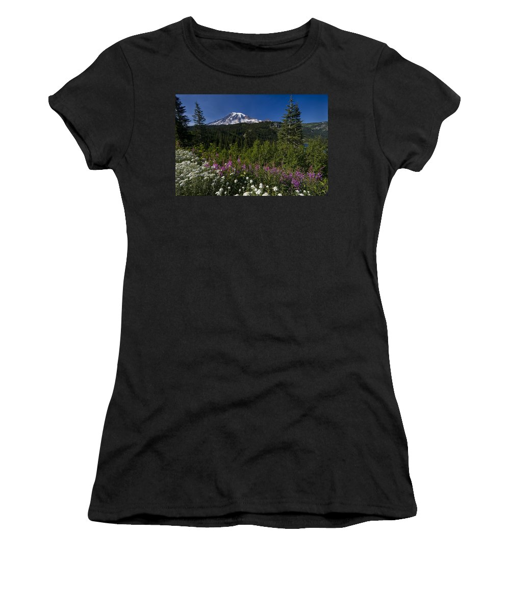 3scape Women's T-Shirt (Athletic Fit) featuring the photograph Mt. Rainier by Adam Romanowicz