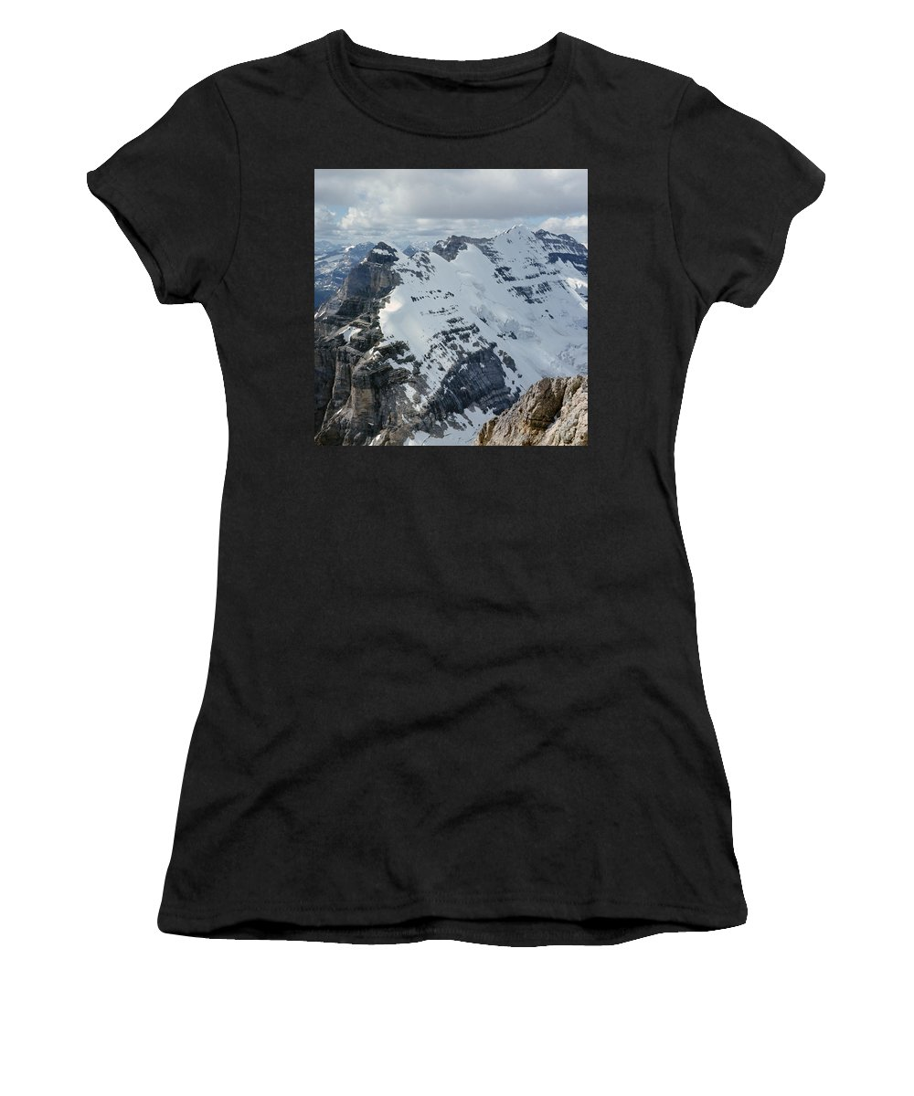 Mt. Victoria Women's T-Shirt (Athletic Fit) featuring the photograph T-703510-mt. Victoria Seen From Mt. Lefroy by Ed Cooper Photography