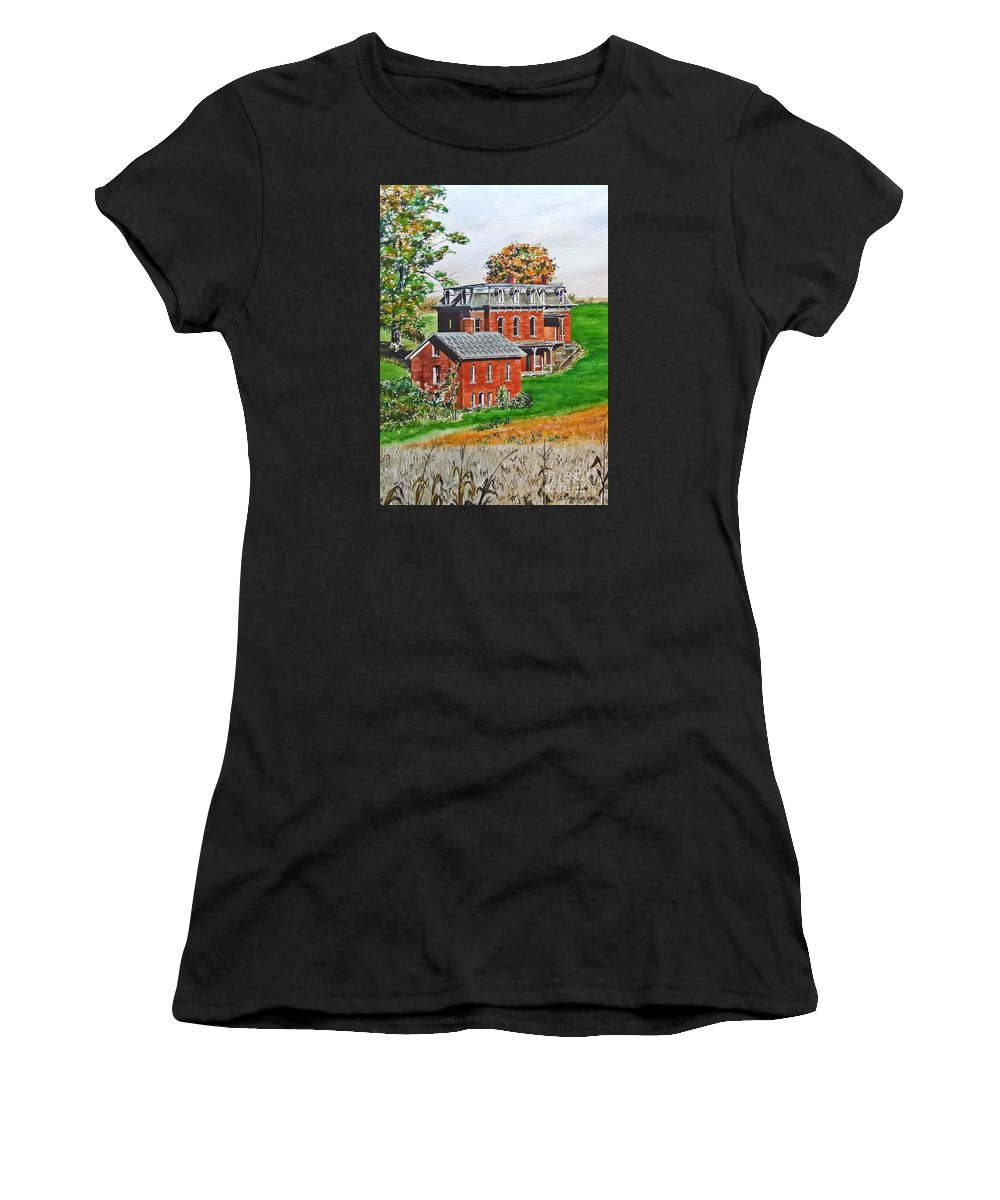 Historic Landmark Women's T-Shirt featuring the painting Mudhouse Mansion by Rick Mock