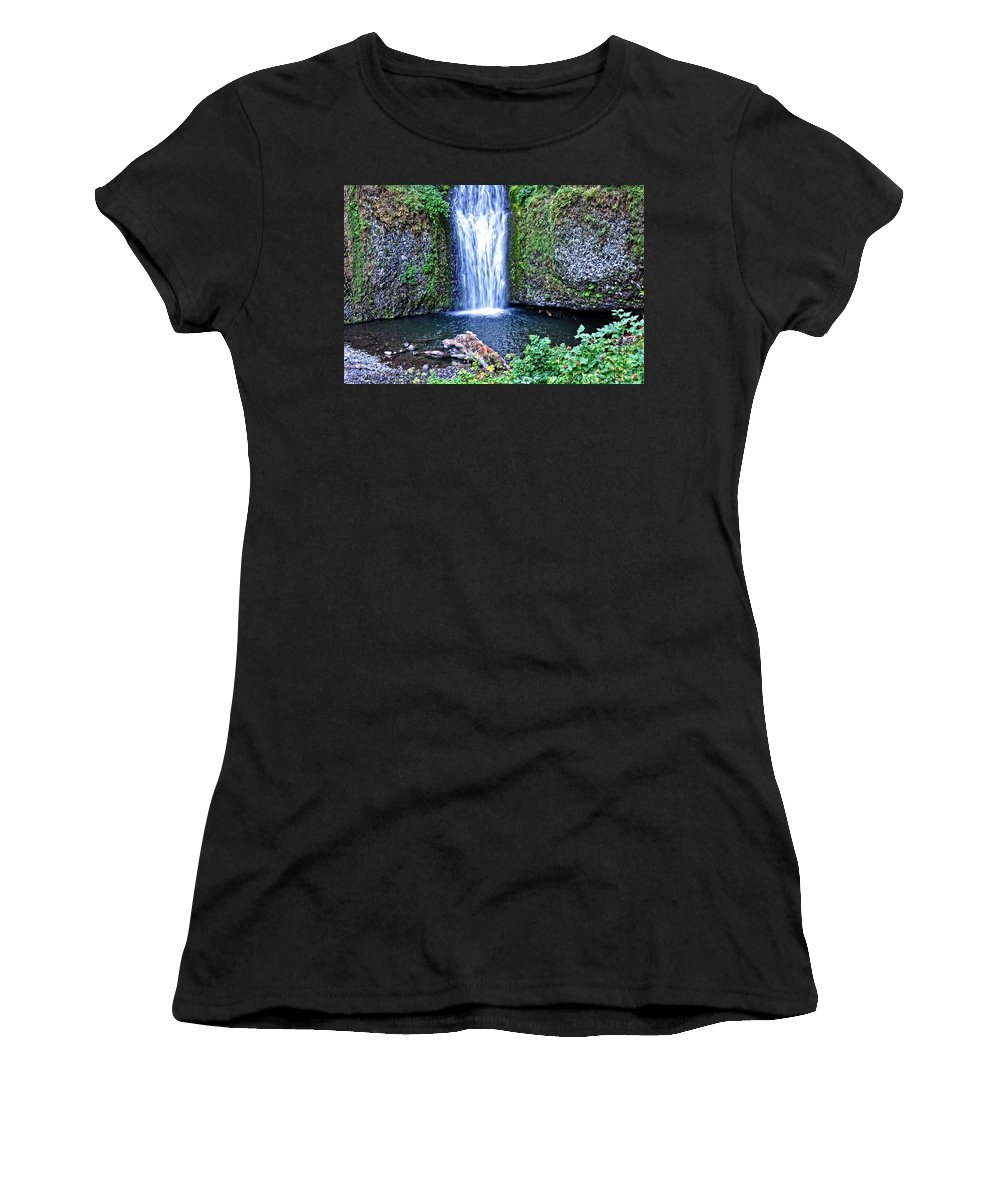 Oregon Women's T-Shirt (Athletic Fit) featuring the photograph Multnomah Falls by Image Takers Photography LLC