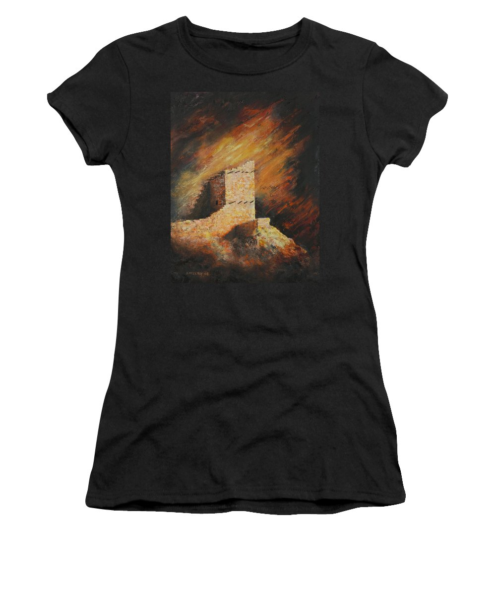 Anasazi Women's T-Shirt (Athletic Fit) featuring the painting Mummy Cave Ruins 2 by Jerry McElroy