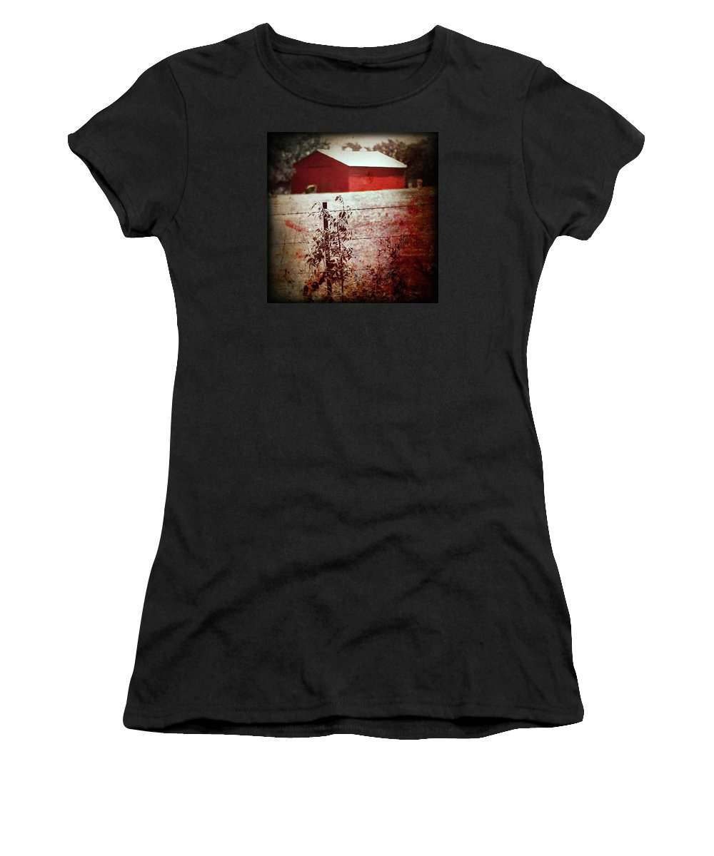 Barn Women's T-Shirt (Athletic Fit) featuring the photograph Murder In The Red Barn by Trish Mistric