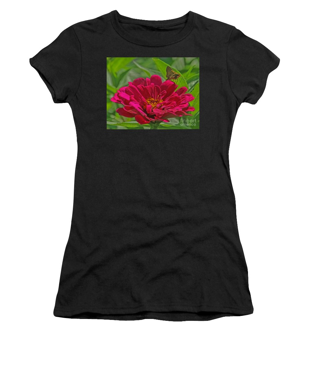 Zinnia Women's T-Shirt (Athletic Fit) featuring the photograph My Flower by Elizabeth Winter