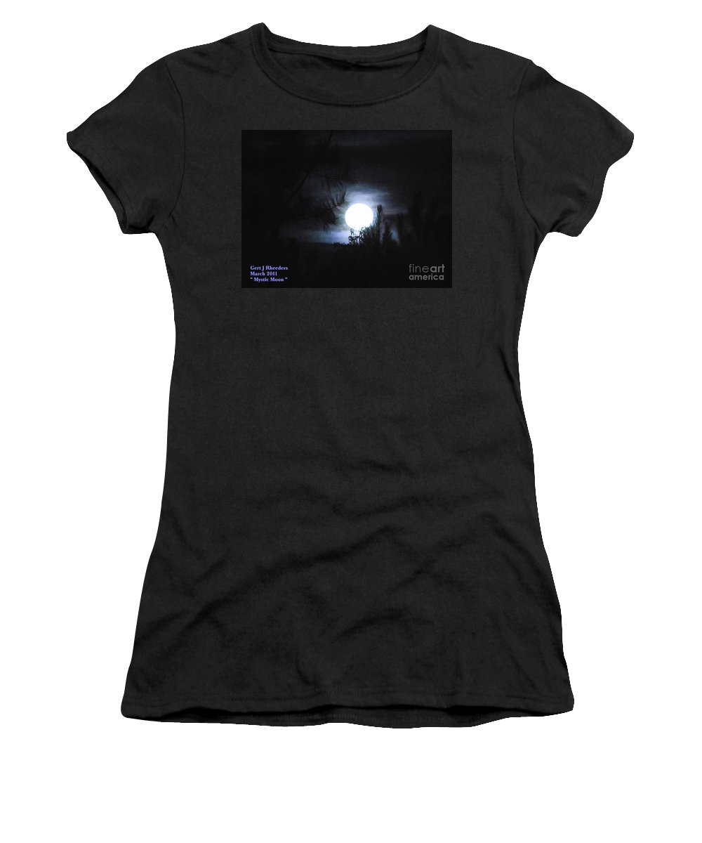 Art Women's T-Shirt (Athletic Fit) featuring the painting Mystic Moon by Gert J Rheeders