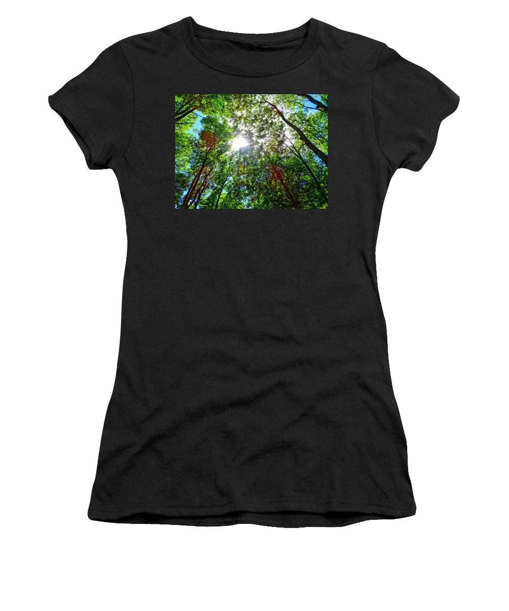 Forest Women's T-Shirt featuring the photograph Mystical Forest Sky by M Bleichner