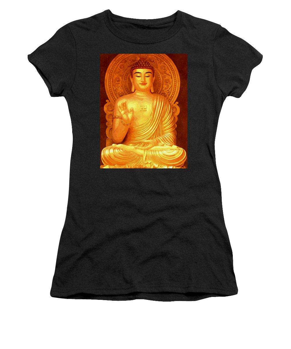 Worshipping Buddha Women's T-Shirt (Athletic Fit) featuring the painting Namo Amitabha Buddha 36 by Jeelan Clark