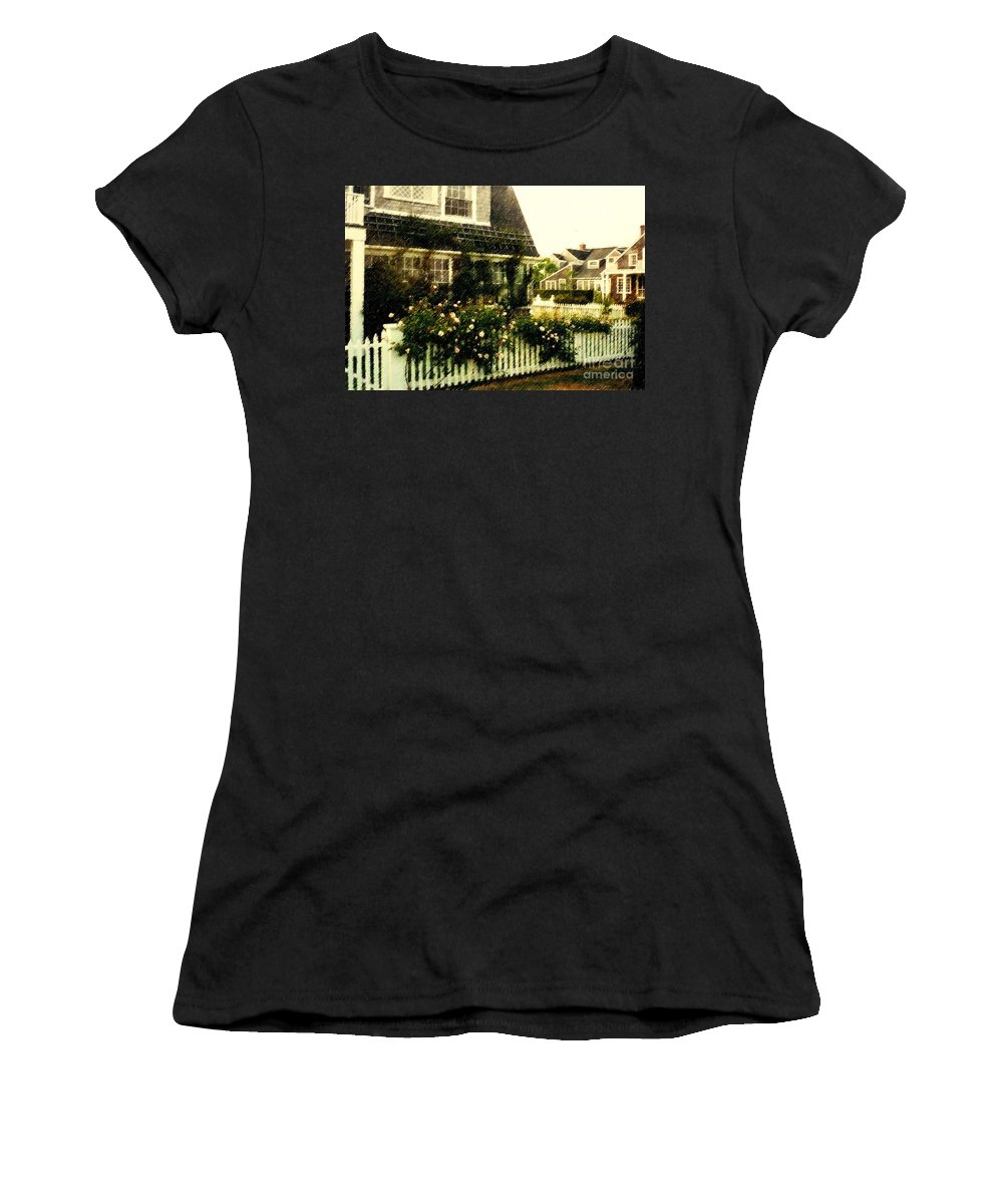 Cottage Women's T-Shirt (Athletic Fit) featuring the photograph Nantucket Cottage by Desiree Paquette