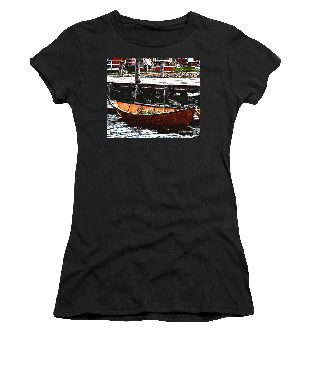 Boats Women's T-Shirt (Athletic Fit) featuring the painting Nantucket Sleigh Ride Whaleboat by RC DeWinter
