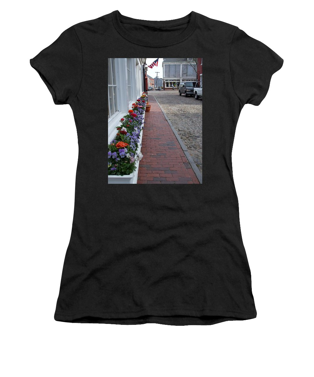Flowers Women's T-Shirt (Athletic Fit) featuring the photograph Nantucket Street Scene by Susan Wyman