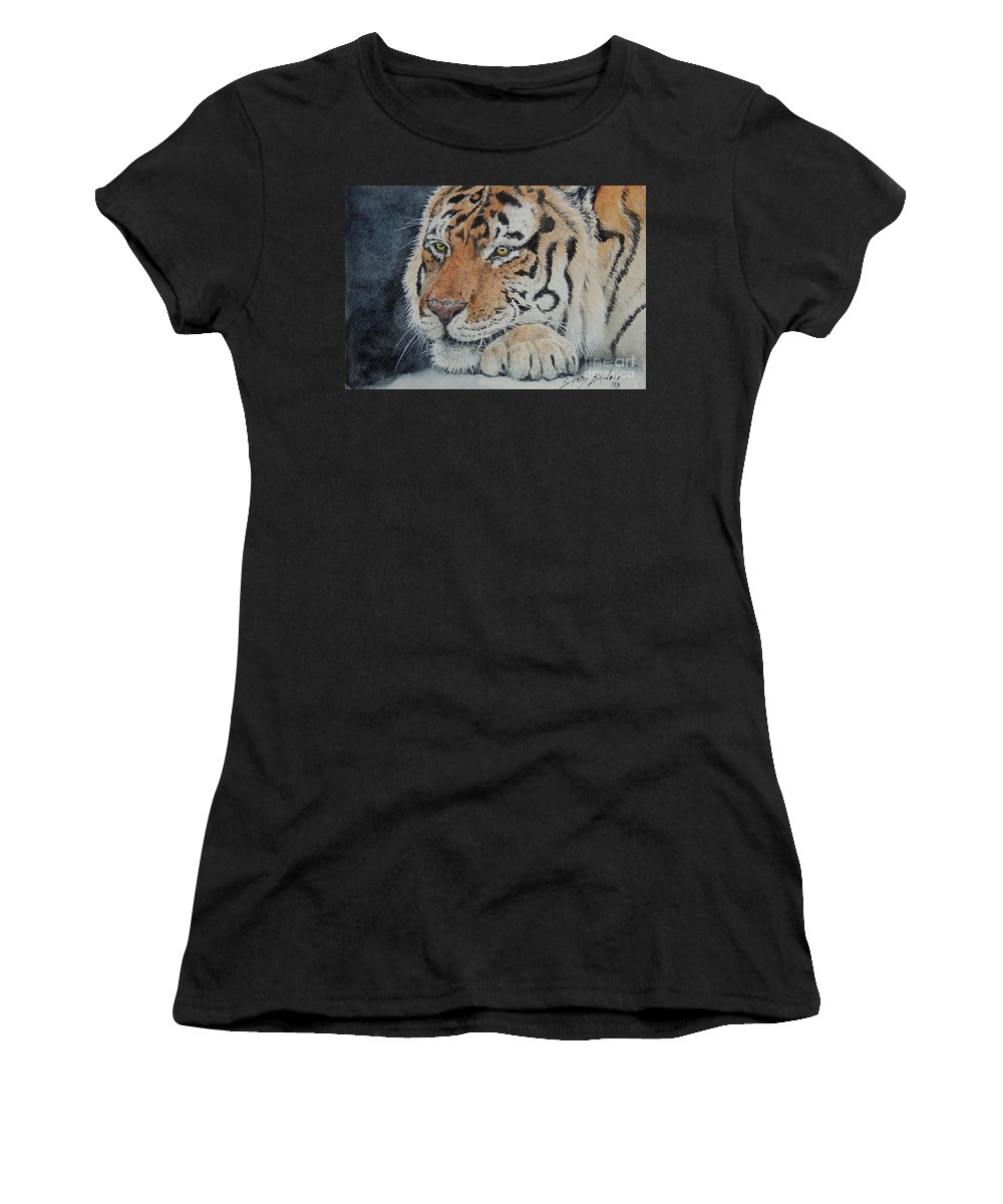 Watercolor Women's T-Shirt (Athletic Fit) featuring the painting Nap Time. Sold by Sandy Brindle