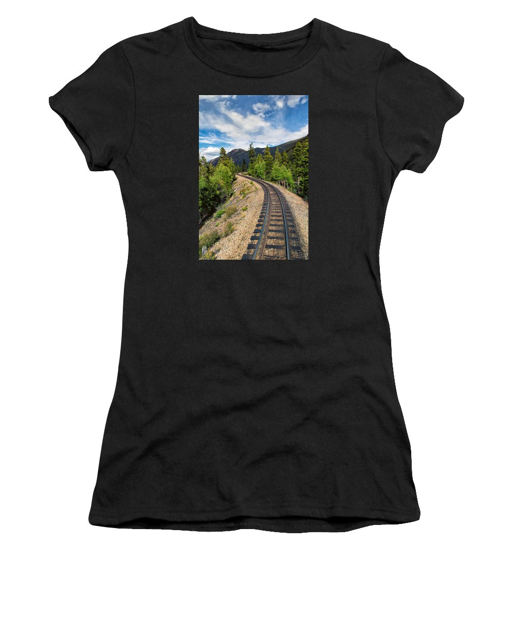Georgetown Loop Women's T-Shirt featuring the photograph Narrow Gauge Tracks In Silver Country by John M Bailey