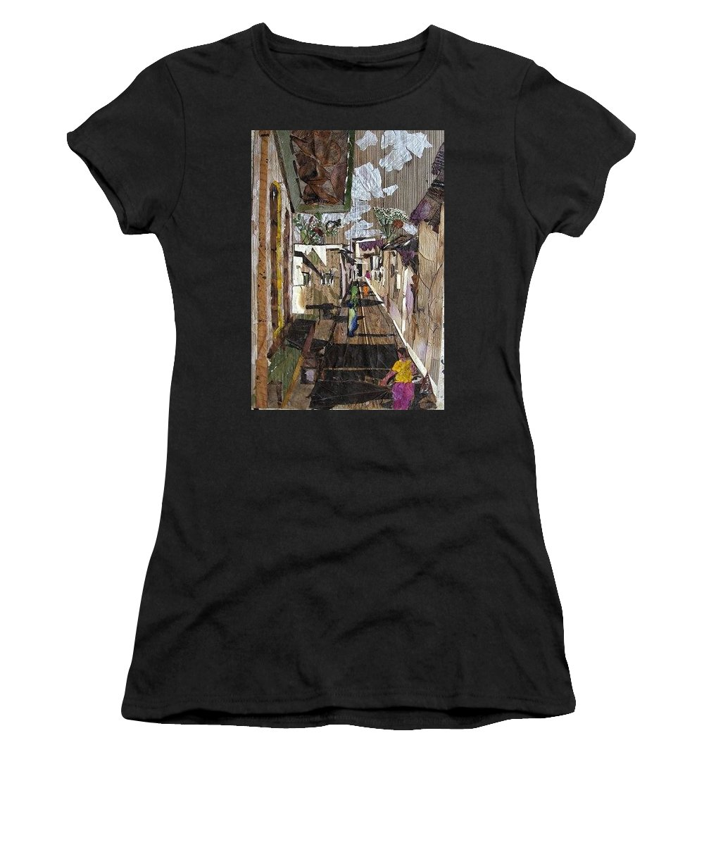 Street Scene Women's T-Shirt (Athletic Fit) featuring the mixed media Narrow Street by Basant Soni