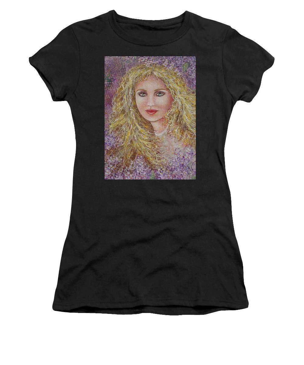 Portrait Women's T-Shirt (Athletic Fit) featuring the painting Natalie In Lilacs by Natalie Holland