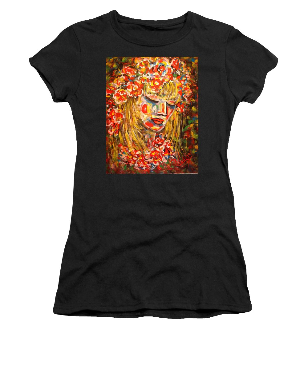 Girl Women's T-Shirt (Athletic Fit) featuring the painting Nature Girl by Natalie Holland