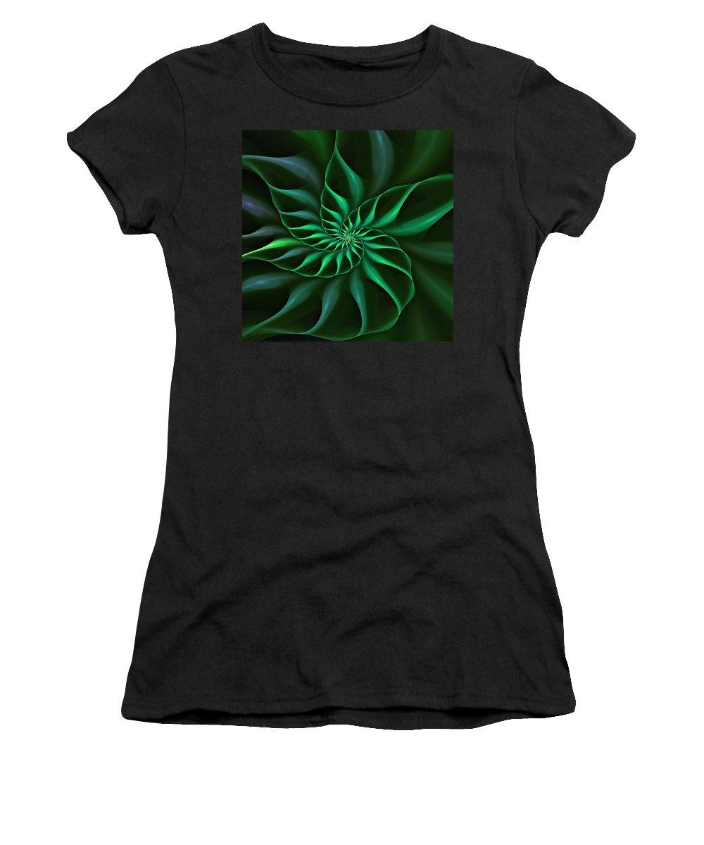 Flower Women's T-Shirt featuring the digital art Nautilus Fractalus Verdant Green by Doug Morgan