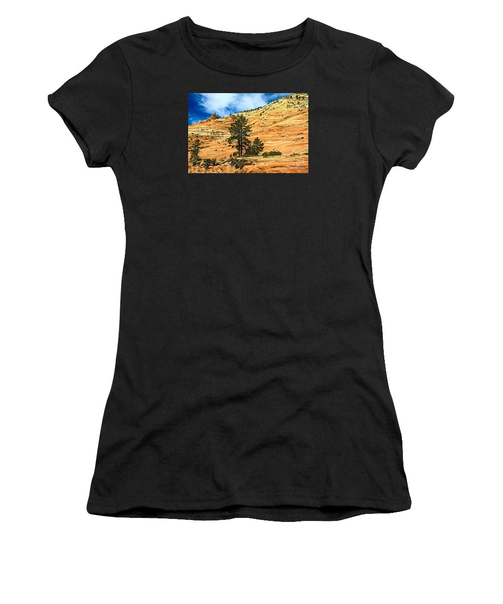 Zion National Parks Women's T-Shirt (Athletic Fit) featuring the photograph Navajo Sandstone by Robert Bales