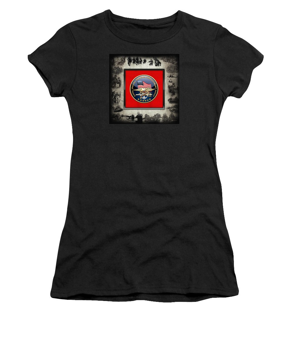 'military Insignia & Heraldry - Nswc' Collection By Serge Averbukh Women's T-Shirt (Athletic Fit) featuring the digital art Naval Special Warfare Development Group - D E V G R U - Emblem Over Navy S E A Ls Collage by Serge Averbukh