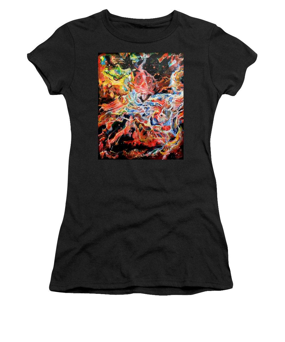 Nebula Women's T-Shirt featuring the painting Nebula by Art by Kar