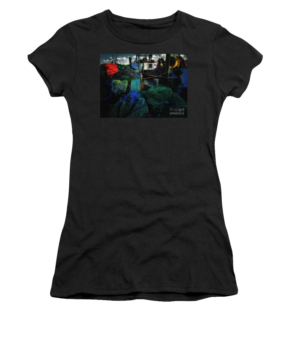 Boats And Ships Women's T-Shirt (Athletic Fit) featuring the photograph Net Worth by Robert McCubbin