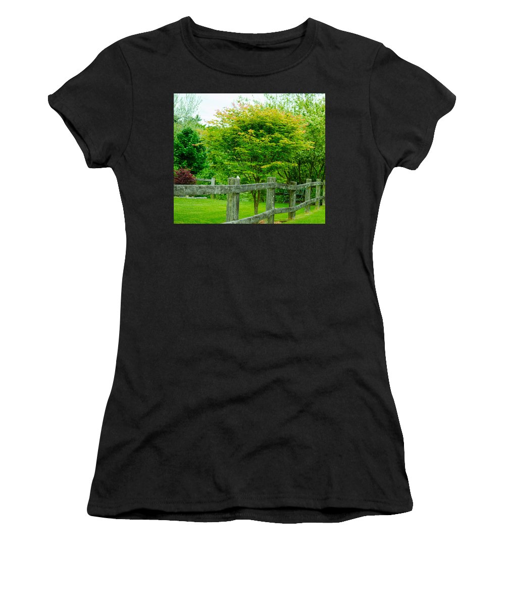 New England Women's T-Shirt (Athletic Fit) featuring the photograph New England Wooden Fence by Michael Moriarty