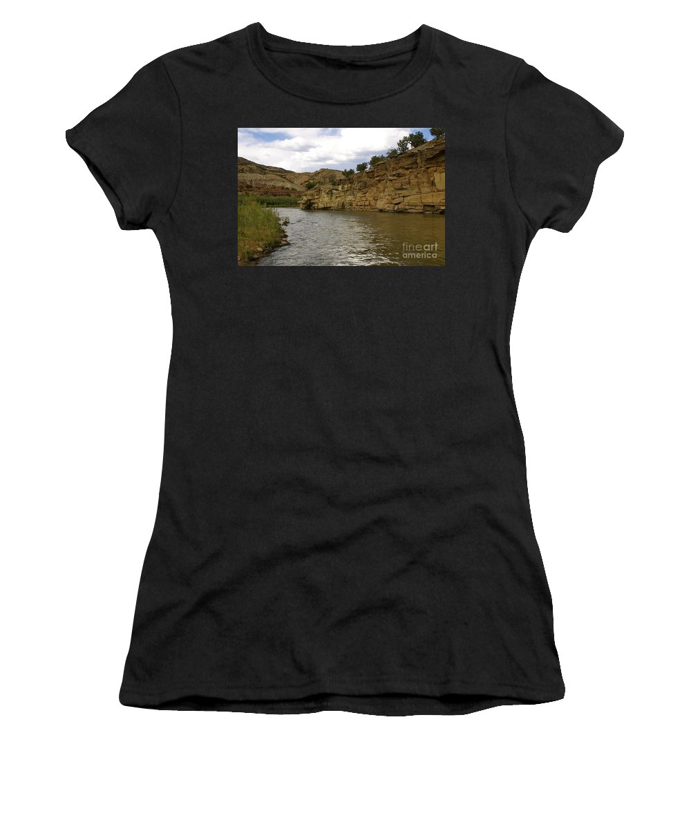 River Women's T-Shirt (Athletic Fit) featuring the photograph New Photographic Art Print For Sale Banks Of The Rio Grande New Mexico by Toula Mavridou-Messer