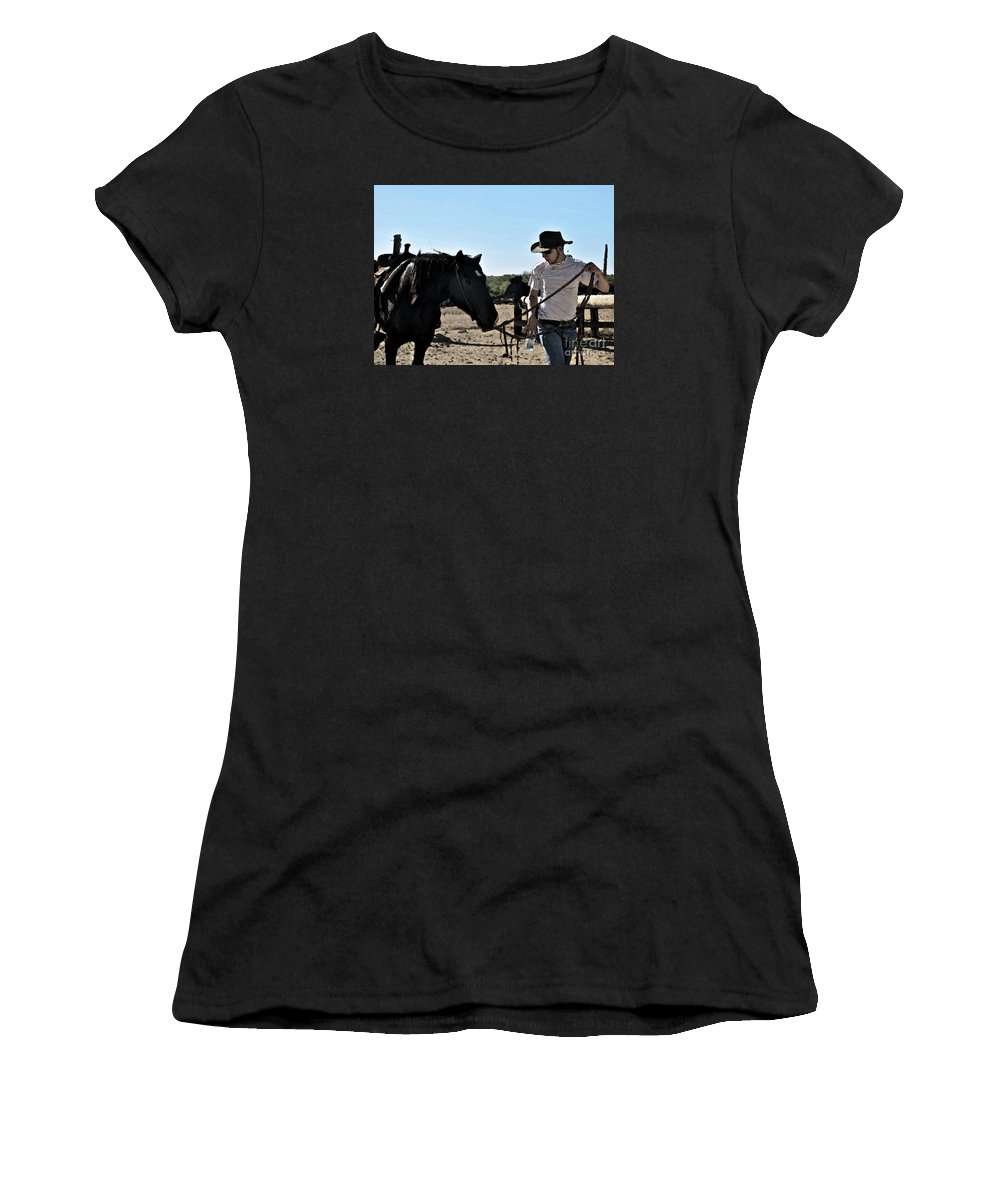 Cowboy Women's T-Shirt (Athletic Fit) featuring the photograph Watercolour Style Cowboy Jim Leading A Horse With Water by Toula Mavridou-Messer