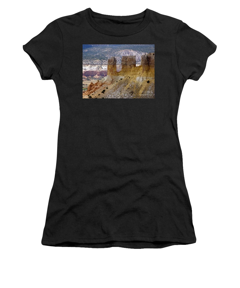 Breaking Bad Women's T-Shirt (Athletic Fit) featuring the photograph New Photographic Art Print For Sale Ghost Ranch New Mexico 9 by Toula Mavridou-Messer