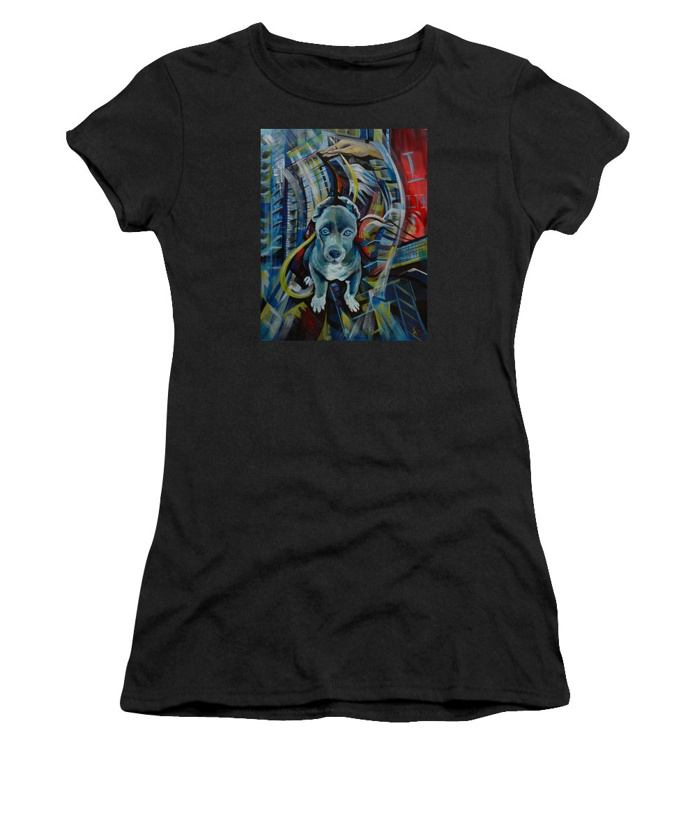 New York Women's T-Shirt (Athletic Fit) featuring the painting New York by Anna Duyunova
