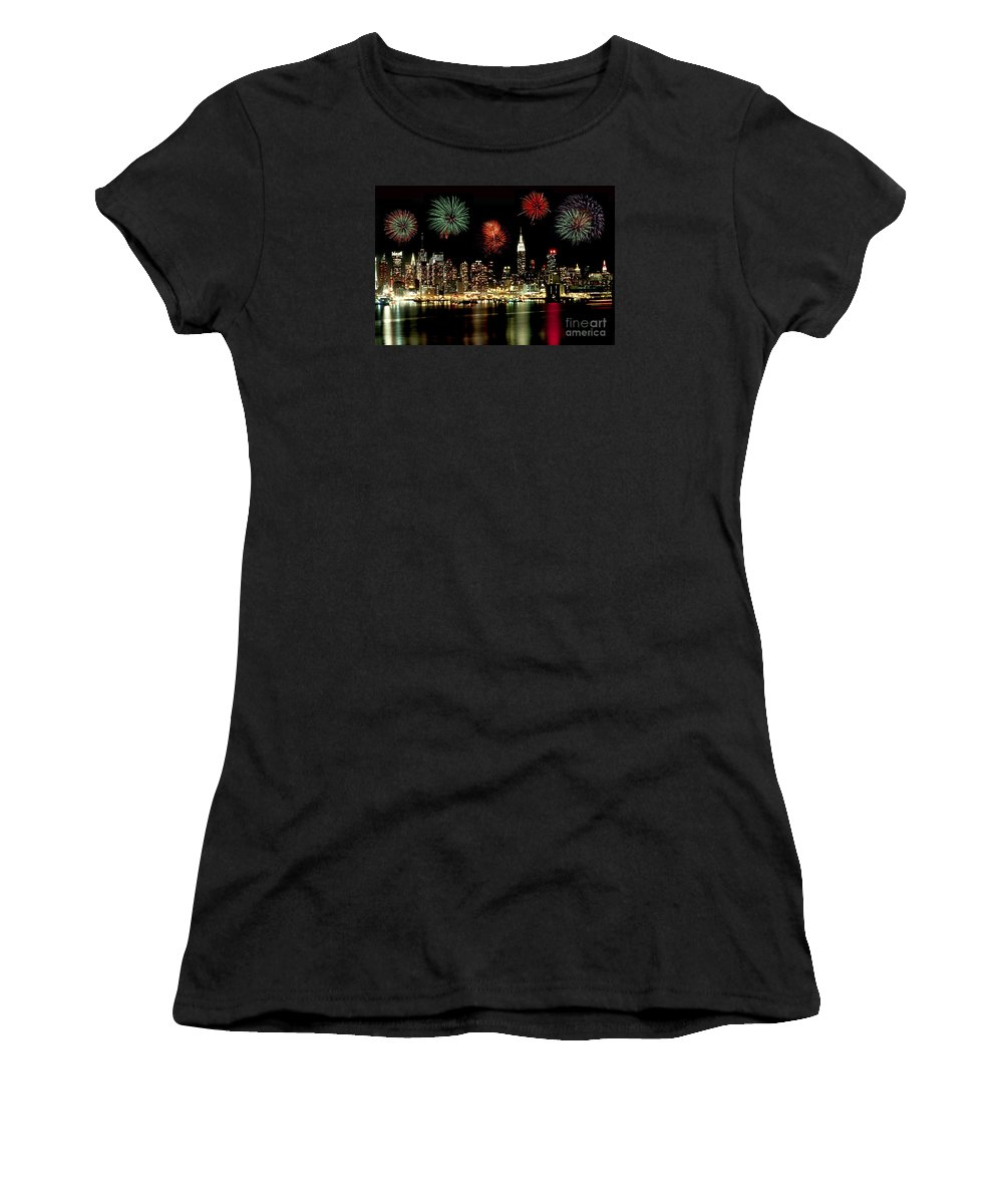 Nyc Women's T-Shirt (Athletic Fit) featuring the photograph New York City Fourth Of July by Anthony Sacco