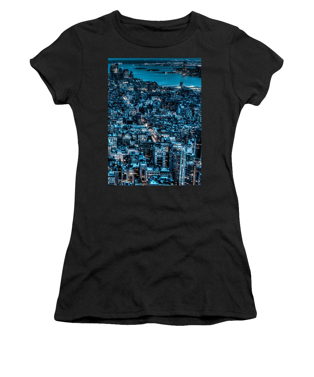 City Women's T-Shirt (Athletic Fit) featuring the photograph New York City Triptych Part 3 by Alex Hiemstra