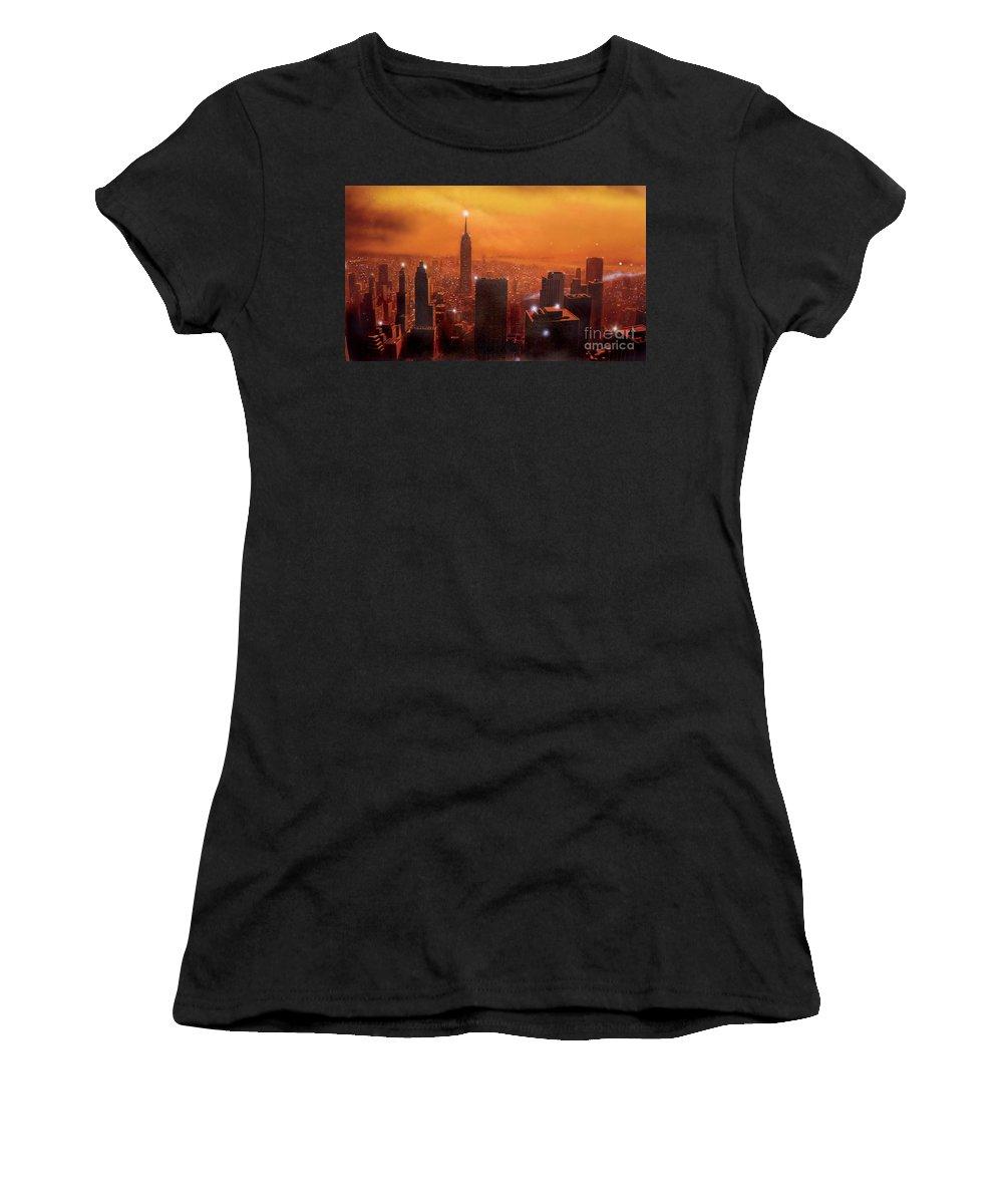 America Women's T-Shirt (Athletic Fit) featuring the digital art New York Sunset by Steve Crisp